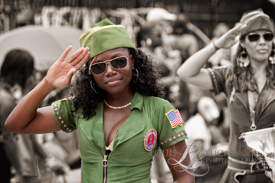 member of the Westin Resort troop gives a salute in the 4th of July parade on St. John VI