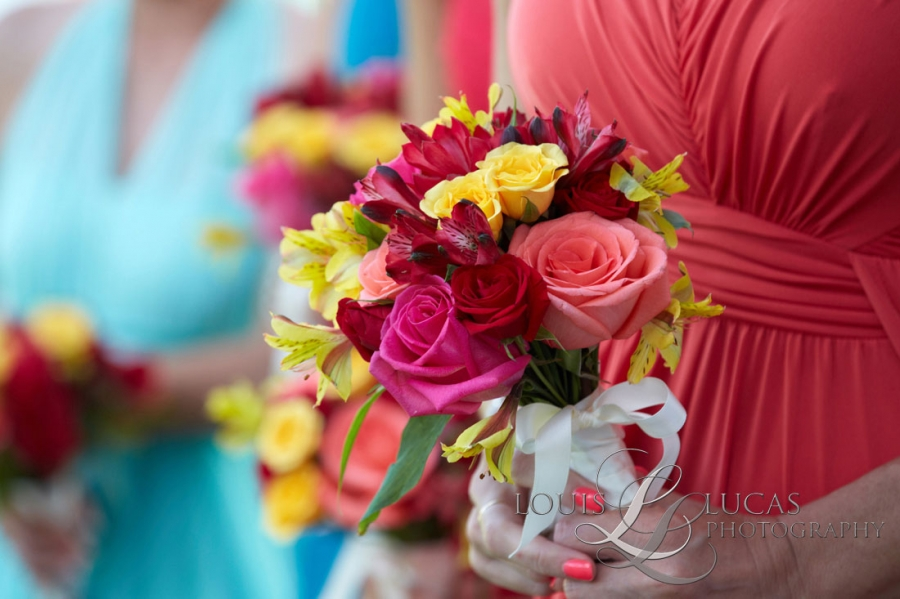 image of flowers held by wedding party on St. John