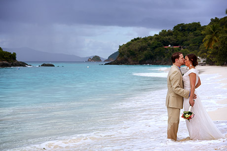 Virgin Islands wedding couple at Trunk Bay, St. John USVI